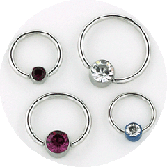 Stainless SteelCaptive Bead Rings with Jeweled Beads