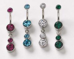 Stainless Steel Bezel Faceted Gem Curved Barbells with Dangle