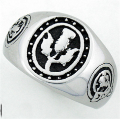 Stainless Steel Men's Scottish Thistle Lion