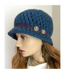 Teal Blue 100% wool Classic Cloche Hat