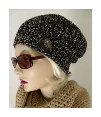Woman In Black Slouchy Beanie Hat