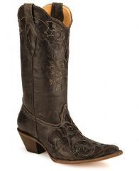 Corral Lizard Inlay Western Cowgirl Boots