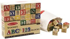 Wooden ABC/123 Block Set, 50 pcs