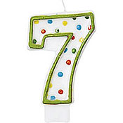 Number 7 Polka Dot Birthday Candle Family