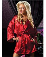 Hanging Satin Mid Thigh Length Robe w/Side Pockets