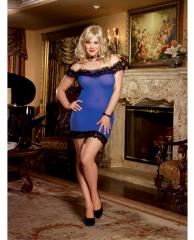 Off the Shoulder Stretch Mesh Chemise &
