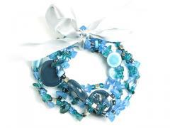 Ceramic and acrylic bead stretch bracelet