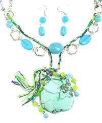 Genuine Stones -  Natural stone long necklace set