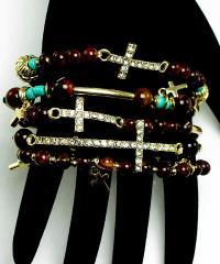Bridal Jewelry -  Fashion diva's 5 piece austrian crystal cross and bead stretch bracelet set.