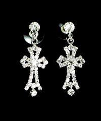 Rhinestone Jewelry cross dangle earrings