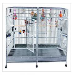Double Macaw Cage in Stainless Steel