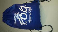 Brave blue drawstring bookbag