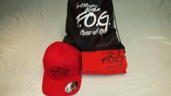 Radiant red tshirt/cap with boss black bookbag set