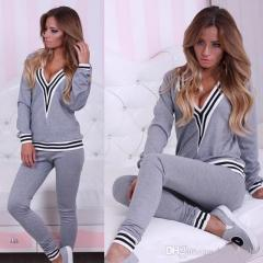 Striped Long SleeveTop With Sport Pants Set