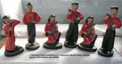 6 Alexander Baxter chalkware Asian musicians in red & black hand painted Ex Cond