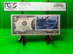 MONEY USA $2 1976 FEDERAL RESERVE NOTE BOSTON PMG UNC BOSTON TEA PARTY