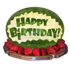 Happy Birthday Carved Watermelon Centerpiece
