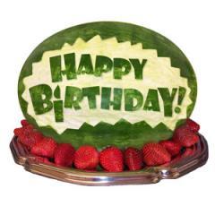 Happy Birthday Carved Watermelon Centerpiece