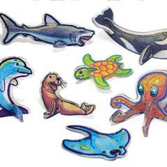 Sea Life Shrinky Dinks in 3D