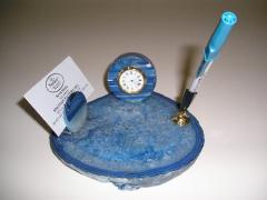 Blue Agate Clock Set