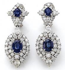 18kw Sapphire/Diamond Earrings