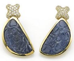 18Ky Carved Saphire/ Diamond Earings