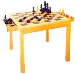 Wooden Chess/Checkers 2-in-1 Table