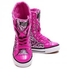 Pink Leopard Print Sparkle Boots