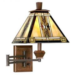 Swing Arm Wall Lamp, Walnut Mission Collection