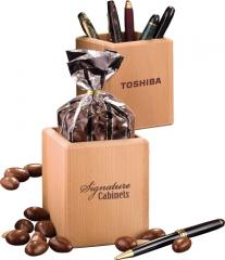 Hardwood Pen & Pencil Cup W/Milk Chocolate
