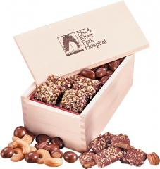 Wooden Box W/English Toffee & Chocolate