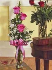 Vase of 3 Pink Roses