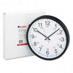24-Hour Round Wall Clock, 12-1/2in, Black