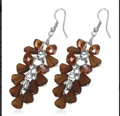 Earrings designer Brown Cluster Bead