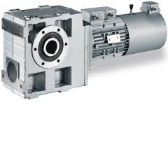 Helical-worm gearbox with three-phase AC motor