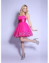 Fuschia Wide Band Prom Dress
