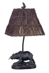 Resin bear accent lamp with wicker shade