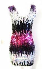 Amber V Front Neckline Sleeveless Sequin Party