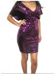 Plus Size Chic Purple Box Sequin Sparkle Stretch