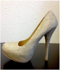 Glitter Gold High Heel Pump Size 8