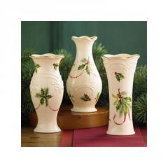 Vases, Lenox Mistletoe & Holly Bud