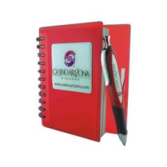 Domed spiral bound notebook with pen