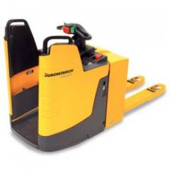 Electric powered pallet truck with stand-on