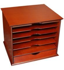 Five-Shelf Desktop Organizer with Drawer - Cherry