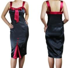 Black Satin Designer Pencil Dress [37280]
