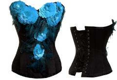 Turquoise Flowers Black Satin Couture Corset