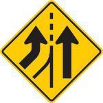 Added Lane Merge Sign N-W43L-FES