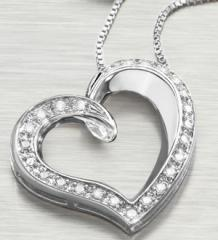 1/4 ct tw Diamond Open Heart Sterling Silver