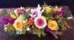 Fuscia and Yellow Long Centerpiece