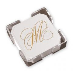 Gold Flourish Coasters with CrystalClear Holder
